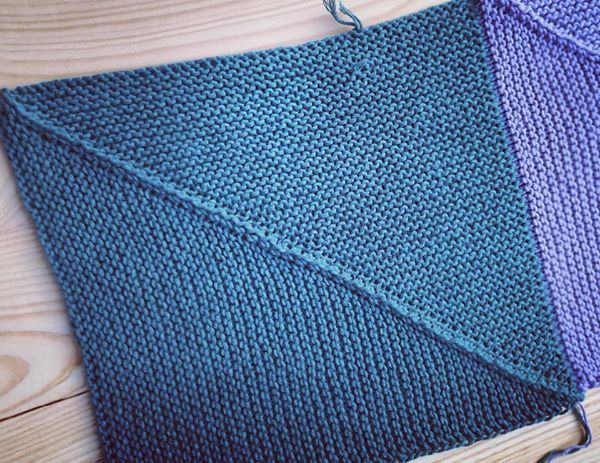 knitted squares in garter stitch